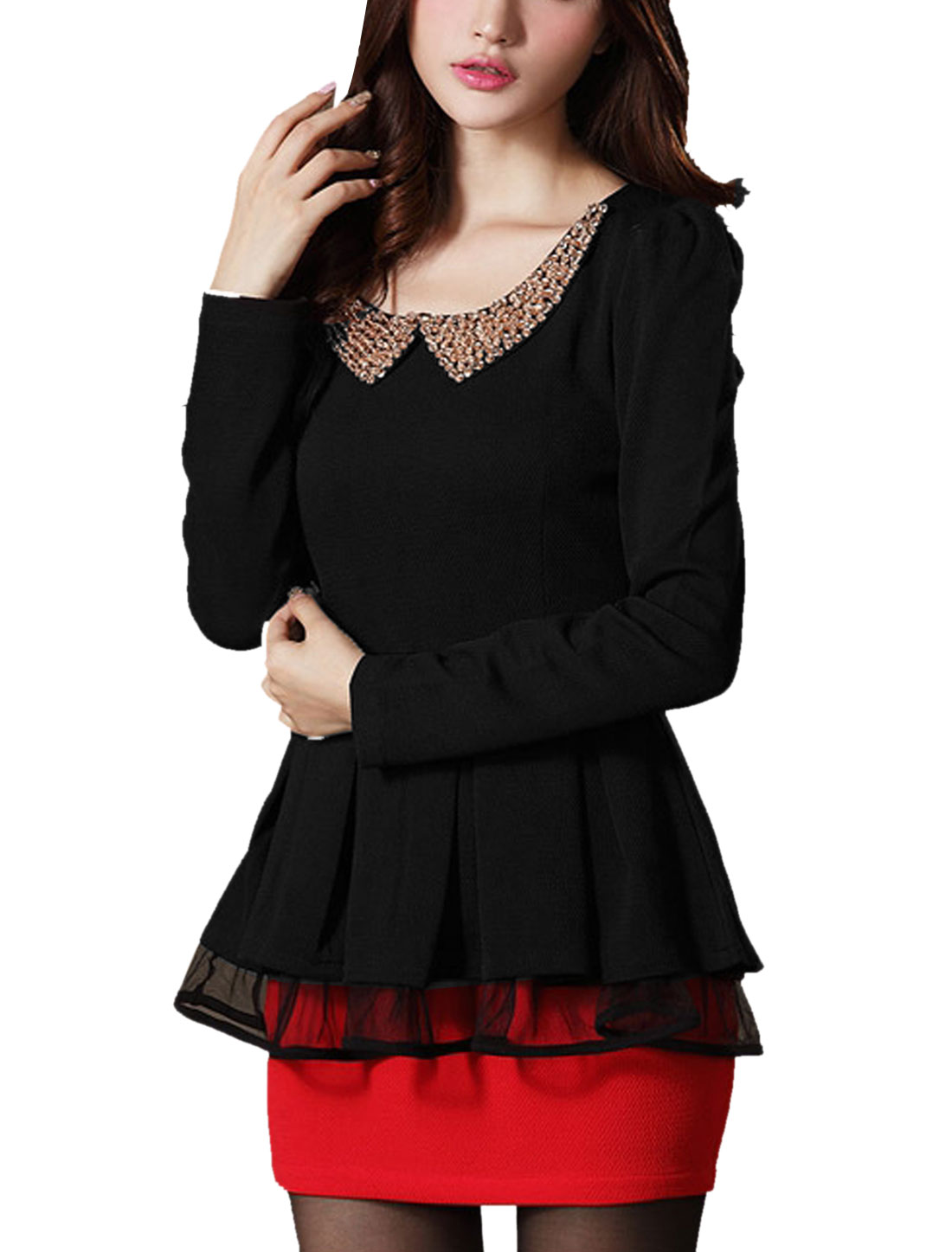 Lady Doll Collar Long Sleeve Fake Crystal Decor Peplum Top Black M