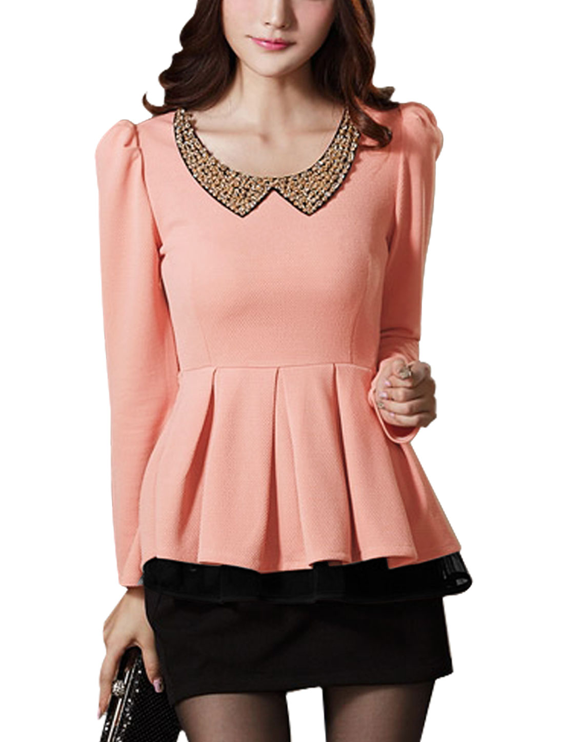 Lady Padded Shoulder Long Sleeve Fake Crystal Decor Peplum Top Pink M