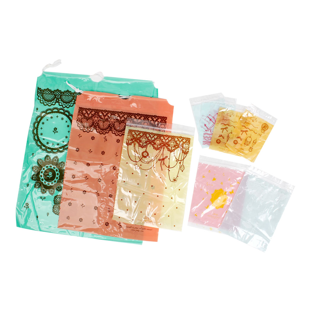 9 Pcs Assorted Color Lace Flower Print Plastic Self Sealing Seal Bags