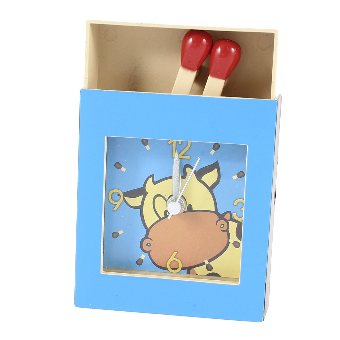 Matchbox Shape Plastic Cartoon Cow Print Arabic Number Alarm Clock Blue Khaki