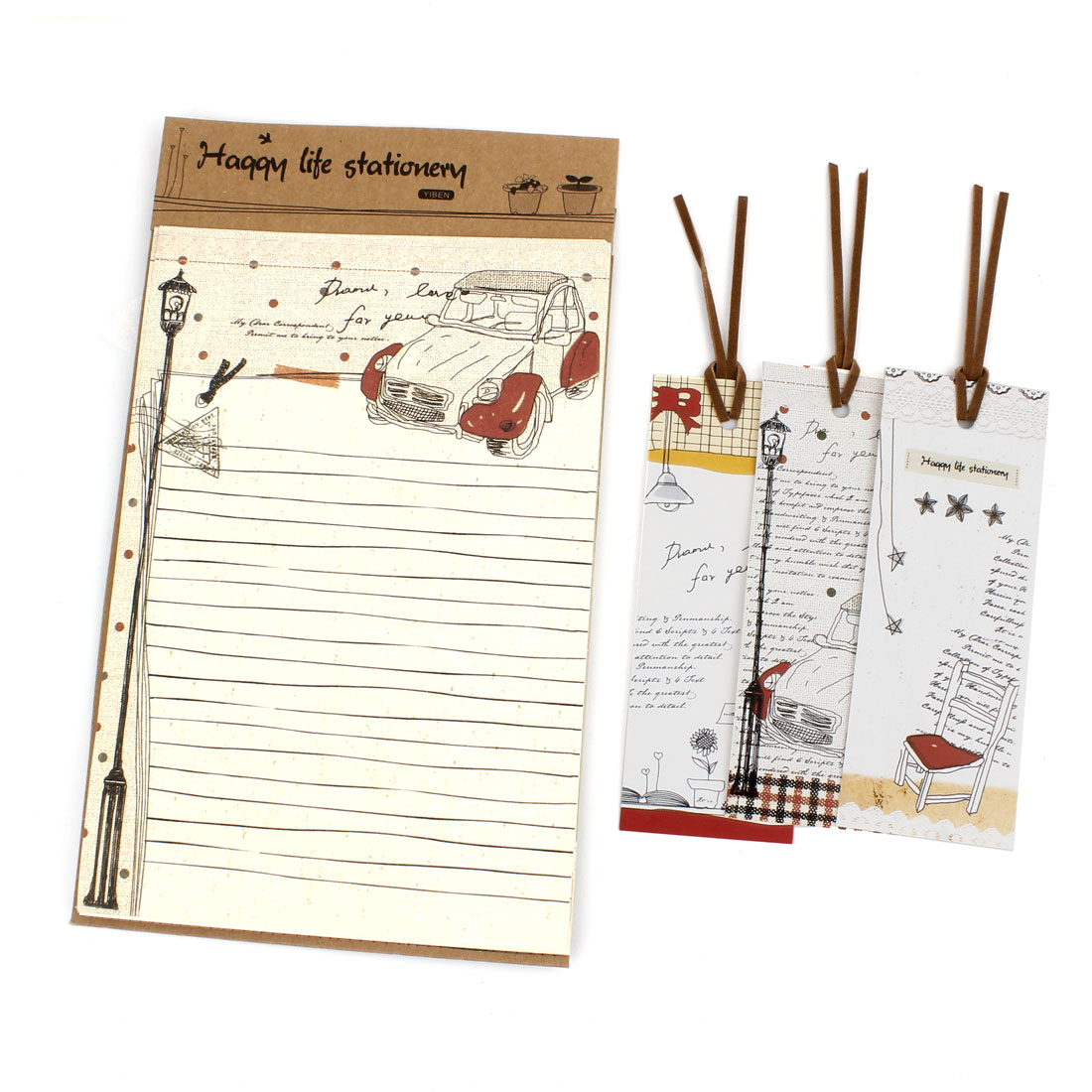 "Office School Cartoon Pattern 4.9"" x 7.3"" Writting Paper 8 Sheets w 3 Bookmarks"