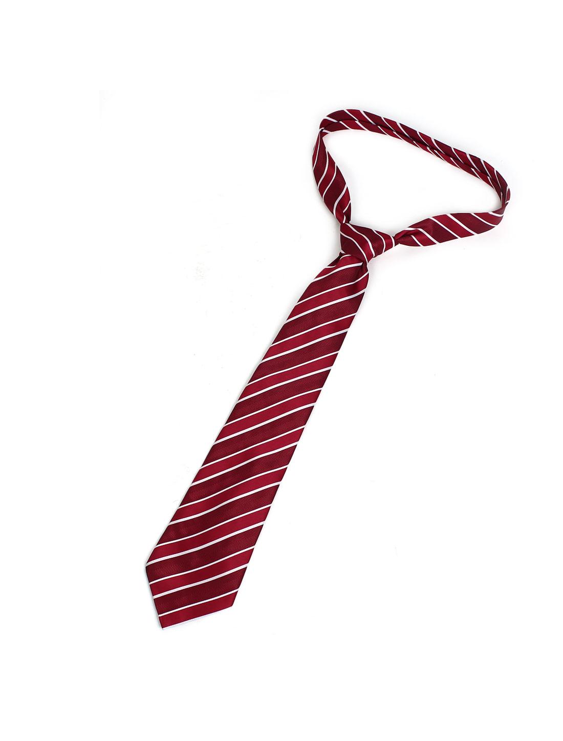 145cm Long White Red Textured Wide Twill Stripe Pattern Self Tie Necktie