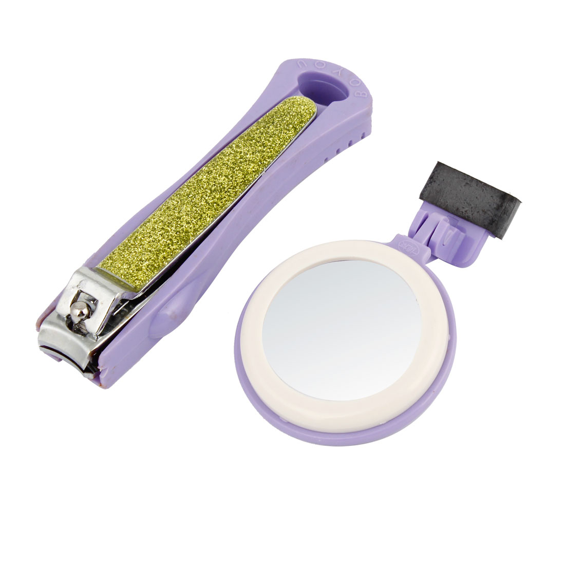 Manicure Tool Purple Plastic Grip Nail Clipper File 2X Magnifier