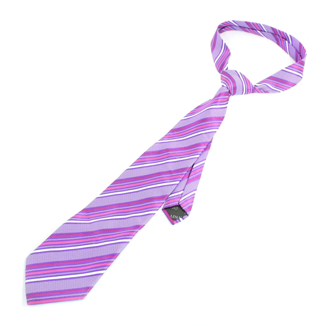 Diagonal Stripes Design Self Tie Neckwear Necktie Purple White Dark Pink
