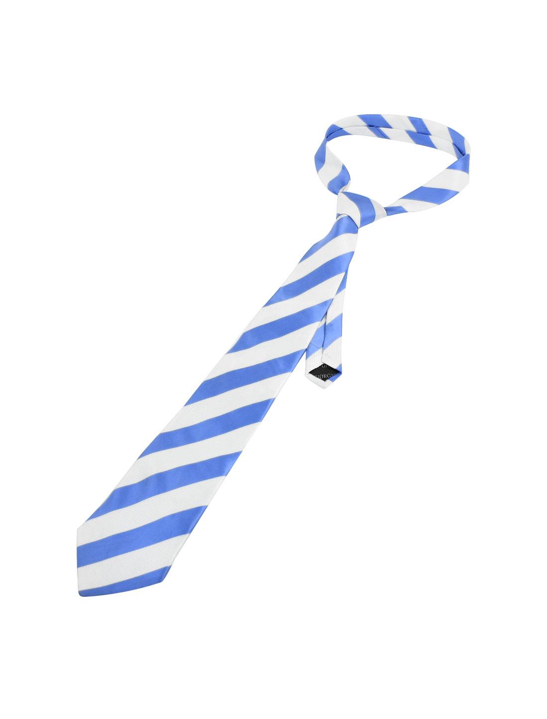 "Men 3 7/8"" Width Stripes Style Self Tie Neckwear Necktie Blue White"