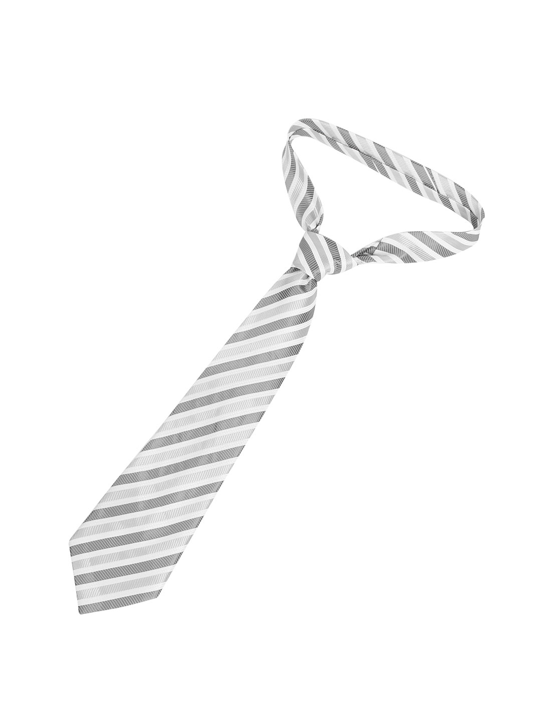 Man Textured Wide Twill Stripe Pattern Polyester Self Tie Necktie Gray White