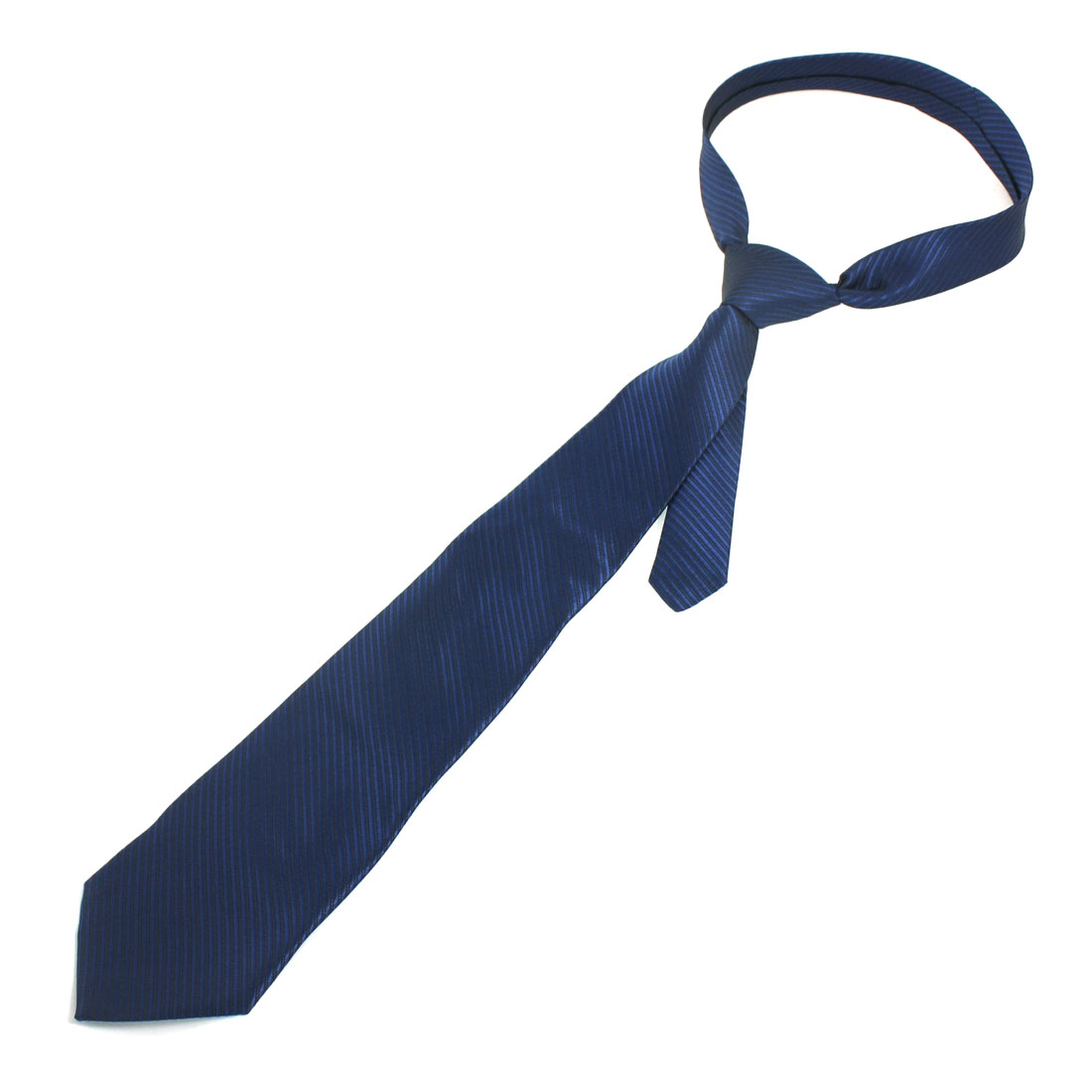 Man Polyester Diagonal Striped Textured Neck Tie Black Navy Blue
