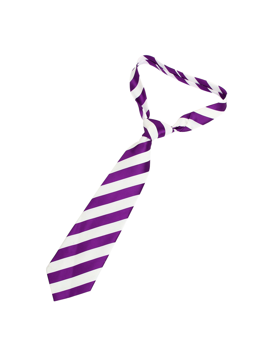 10cm Width Purple White Stripes Printed Polyester Self Tie Necktie for Men