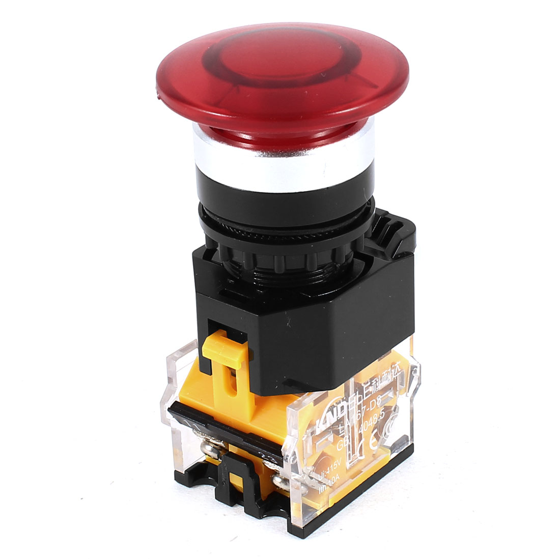 415V 10A 22mm Threaded Red Mushroom Head DPST Momentary Button Switch