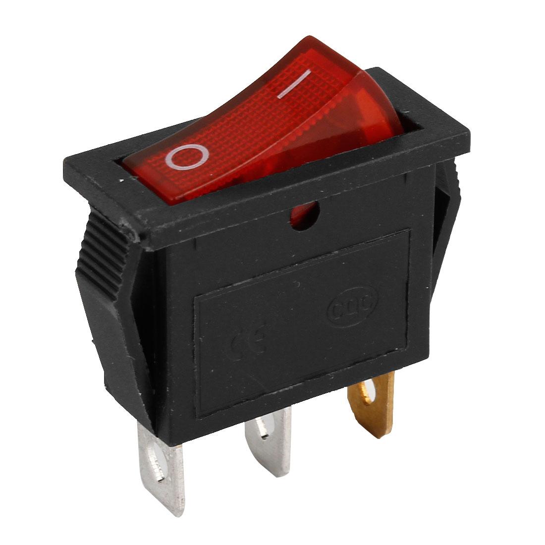 AC 250V/15A 125V/30A 3P SPST I/O Red Lamp Snap in Boat Rocker Switch