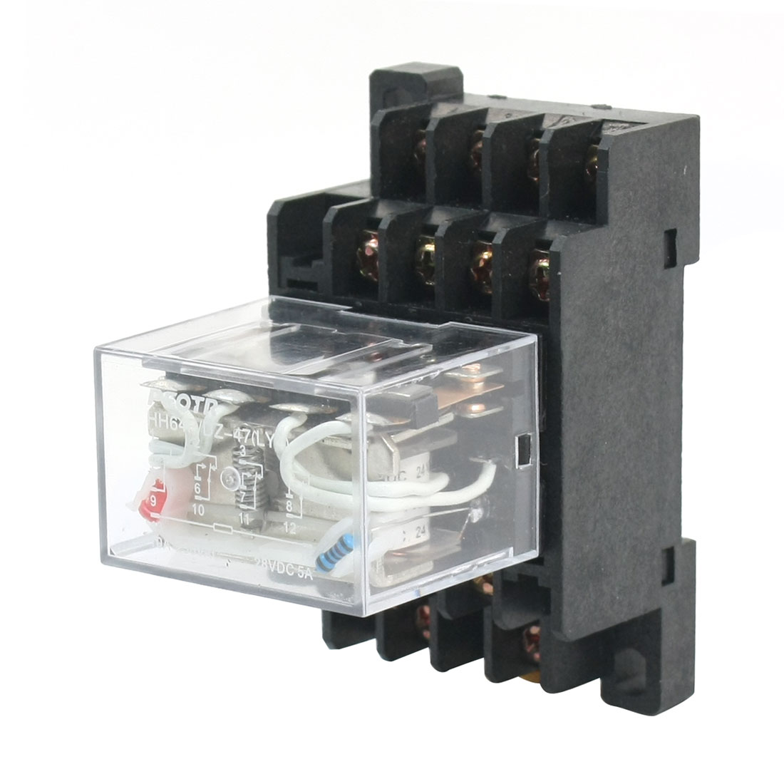HH64P/DZ47 DC 24V Coil Voltage Red Indicator Light 14-Pin 4PDT 4NO 4NC Plug-in General Purpose Power Relay w 35mm DIN Rail Mount Socket