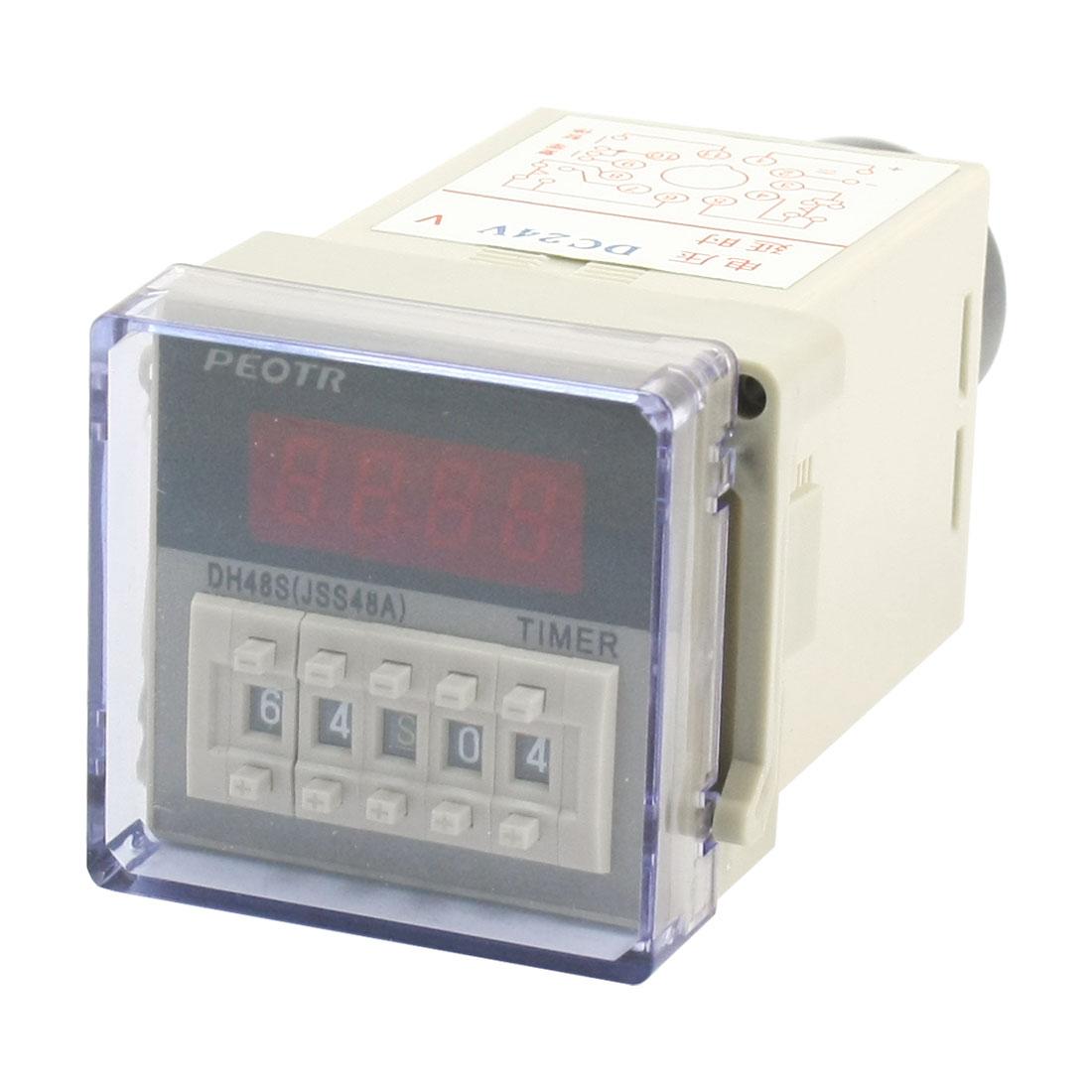 DC 24V 2NO 2NC 1min-99h99min 1s-99min99s 0.01s-99.99s Delay Timer Relay DH48S