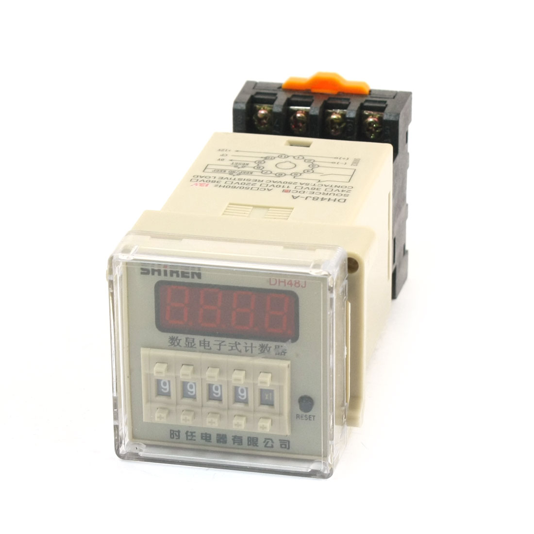 DC 12V 1-9999(x1 x10 x100) Adjustable 30cps Digital Display Counter Relay DH48J-A
