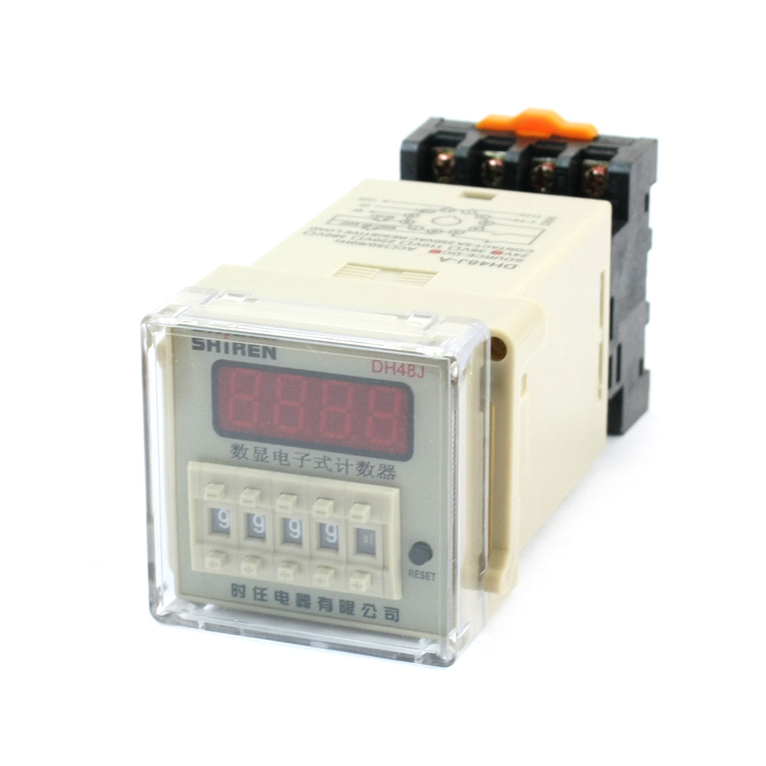 DH48J-A 1-9999 (x1 x10 x100) 30cps Digital Counter Relay DC 24V w Base Socket