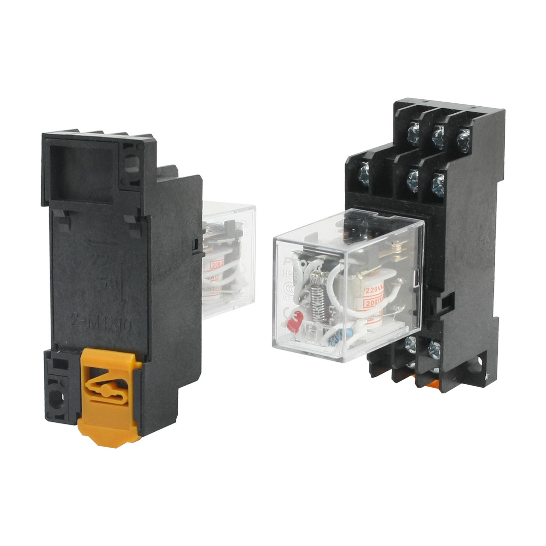 2 Pcs HH53P AC 200V Coil Voltage Red Indicator Light 11-Pin 3PDT 3NO 3NC Plug-in General Purpose Power Relay w 35mm DIN Rail Mount Socket