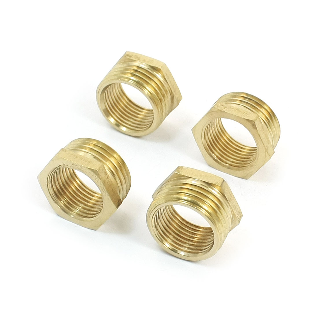 1/2PT x 3/8PT M/F Threaded Hex Head Gold Tone Brass Bushing Piping Fitting Connector Adapter 4Pcs