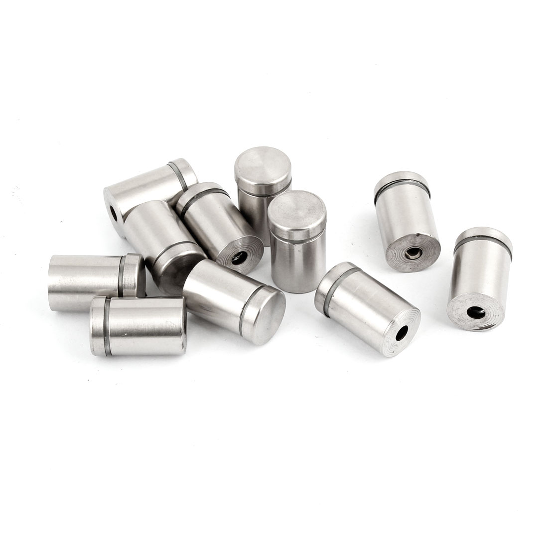 12 Pcs 16mm Dia 25mm Long Round Stainless Steel Standoff for Glass Hardware
