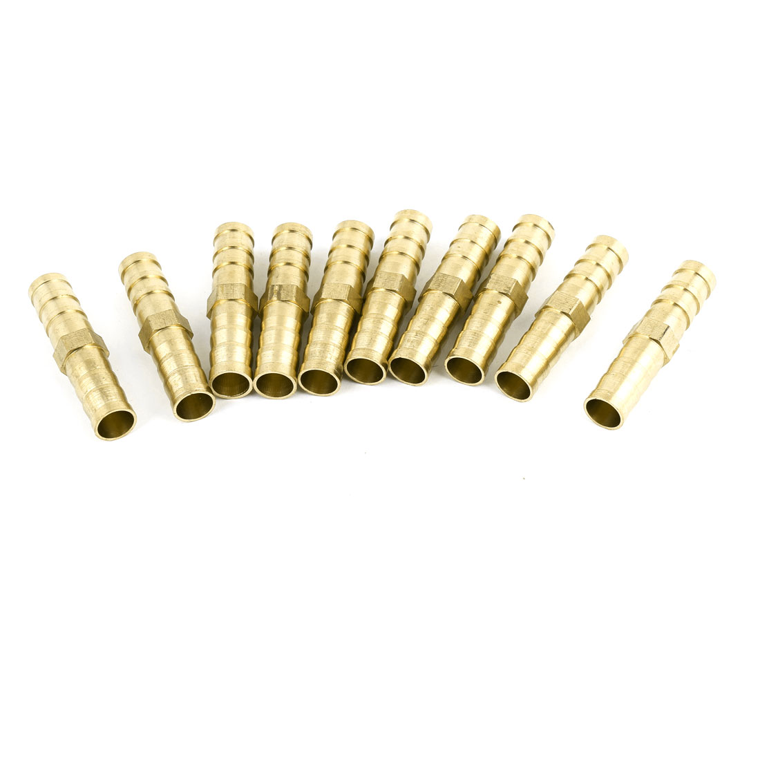 10 Pcs Gold Tone Quick Fittings Barbed Coupler for 8mm Inner Dia Air Pipe Hose
