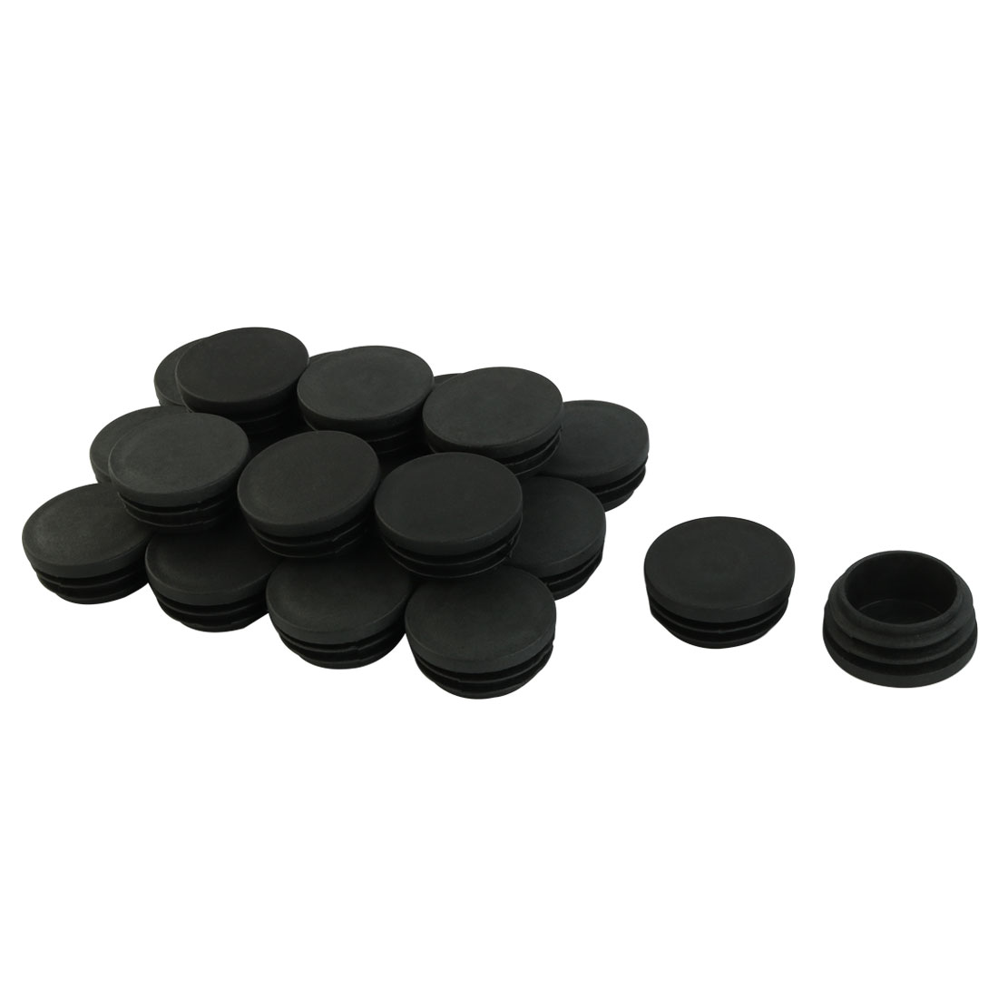20 Pcs Furniture Black Plastic Screw Type Cap Cover 19mm Diameter