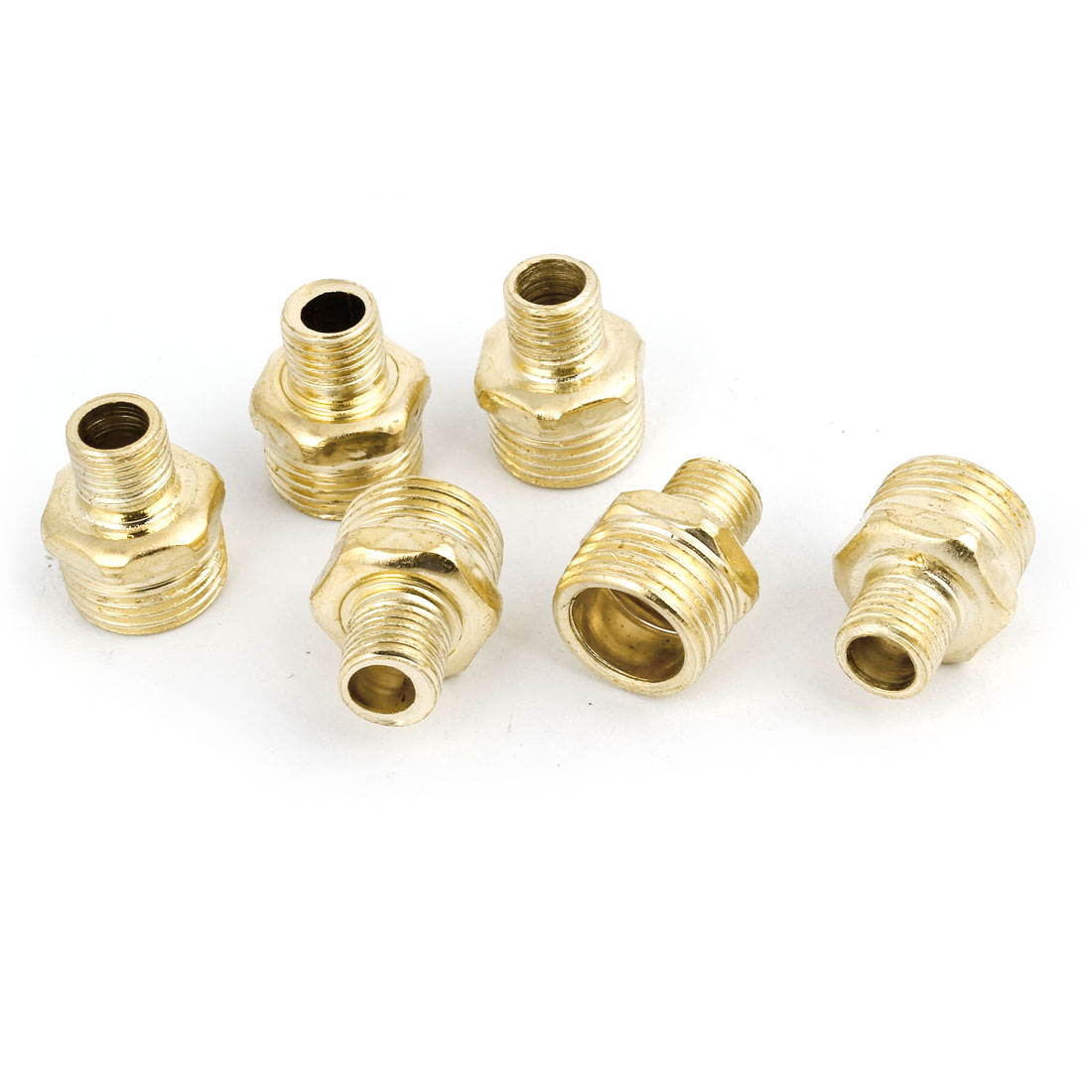 6 Pcs Pneumatic Air Pipe 1/8PT to 1/2PT M/M Thread Brass Hex Reducing Nipple