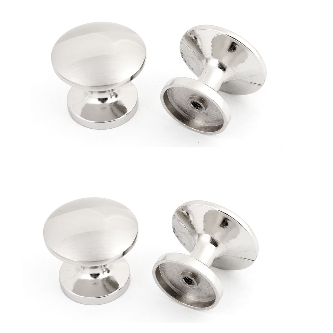 4 Pcs Drawer Fitting Silver Tone 28mm Dia Round Metal Knob Handle