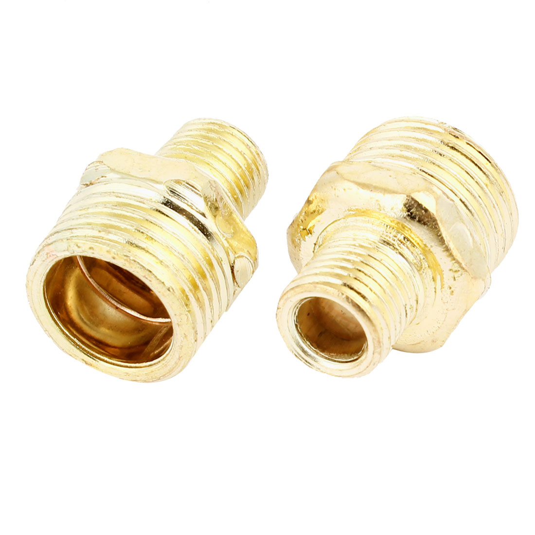 2 Pcs Pneumatic Air Pipe 1/8 PT to 1/2PT M/M Thread Brass Hex Reducing Nipple