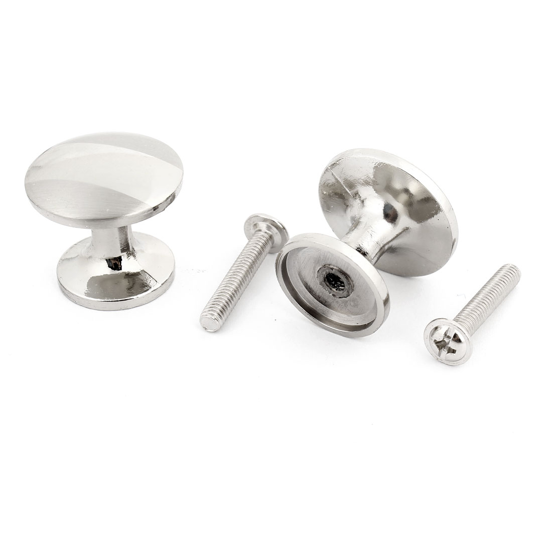 2 Pcs Silver Tone Drawer Fitting 24mm Diameter Pull Handle Metal Round Knob