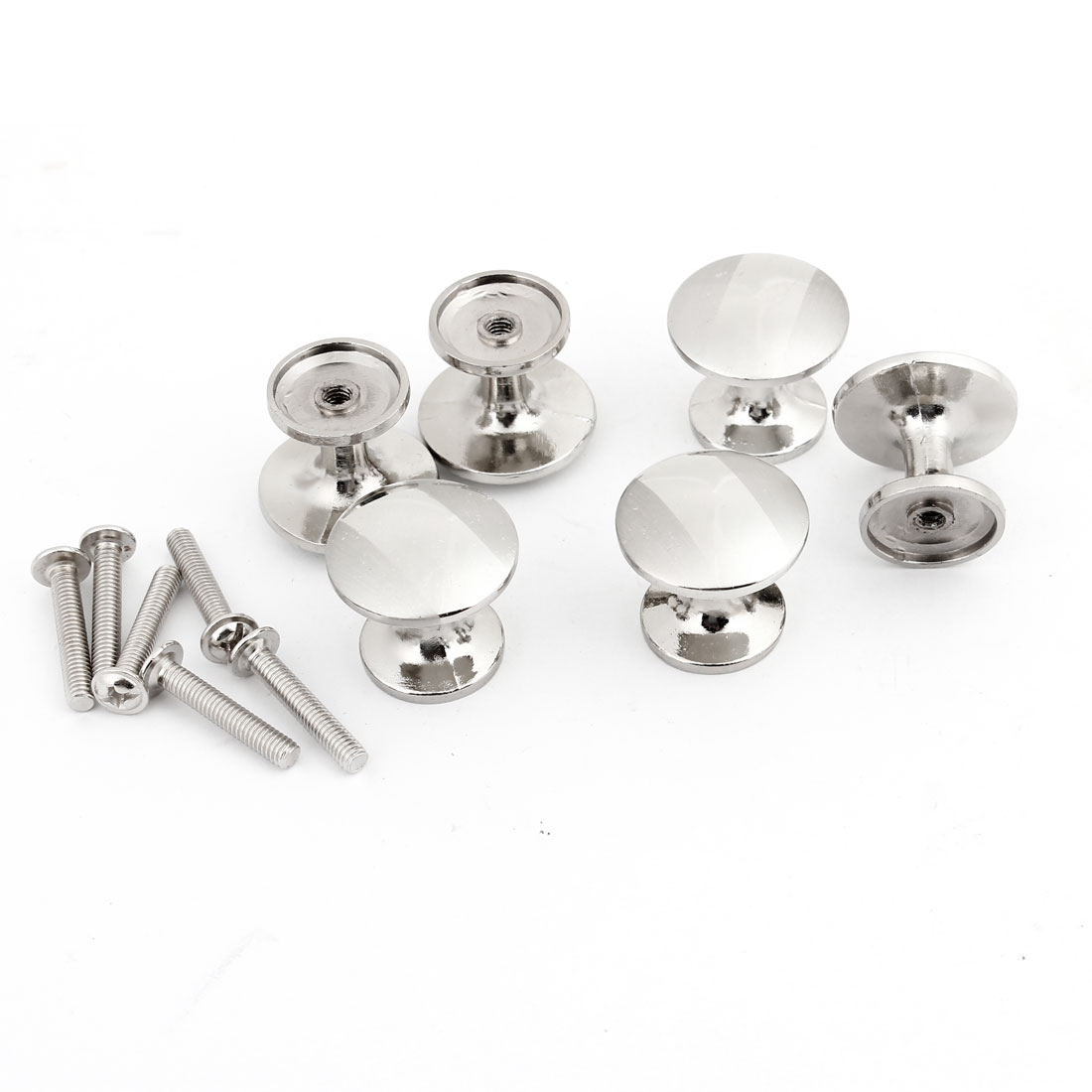 "0.13"" Thread Round Stainless Steel Knob Handle for Cabinet Door 6 Pcs"