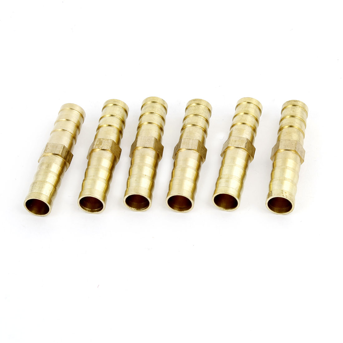 6 Pcs Gold Tone 8mm Dia Pneumatic Air Tubing Piping Hose Quick Fittings Straight Coupler Barb Barbed Adapter