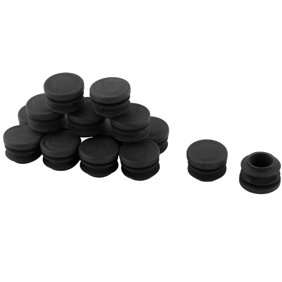 15 Pcs Black 19mm Dia Round Plastic Blanking End Cap Tubing Tube Insert