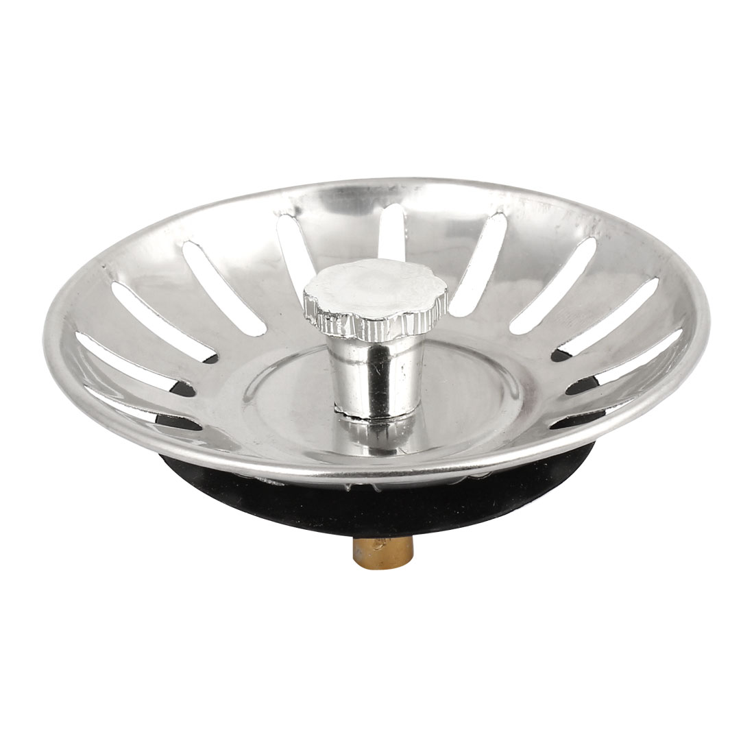 80mm Diameter Kitchen Silver Tone Sink Basin Colander Filter Strainer