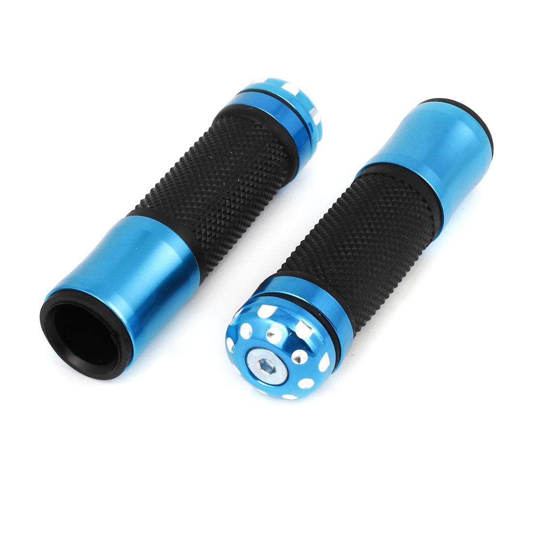 Pair Black Blue Rubber Metal Antislip Design Handlebar Handgrip Cover Guard for Motobike
