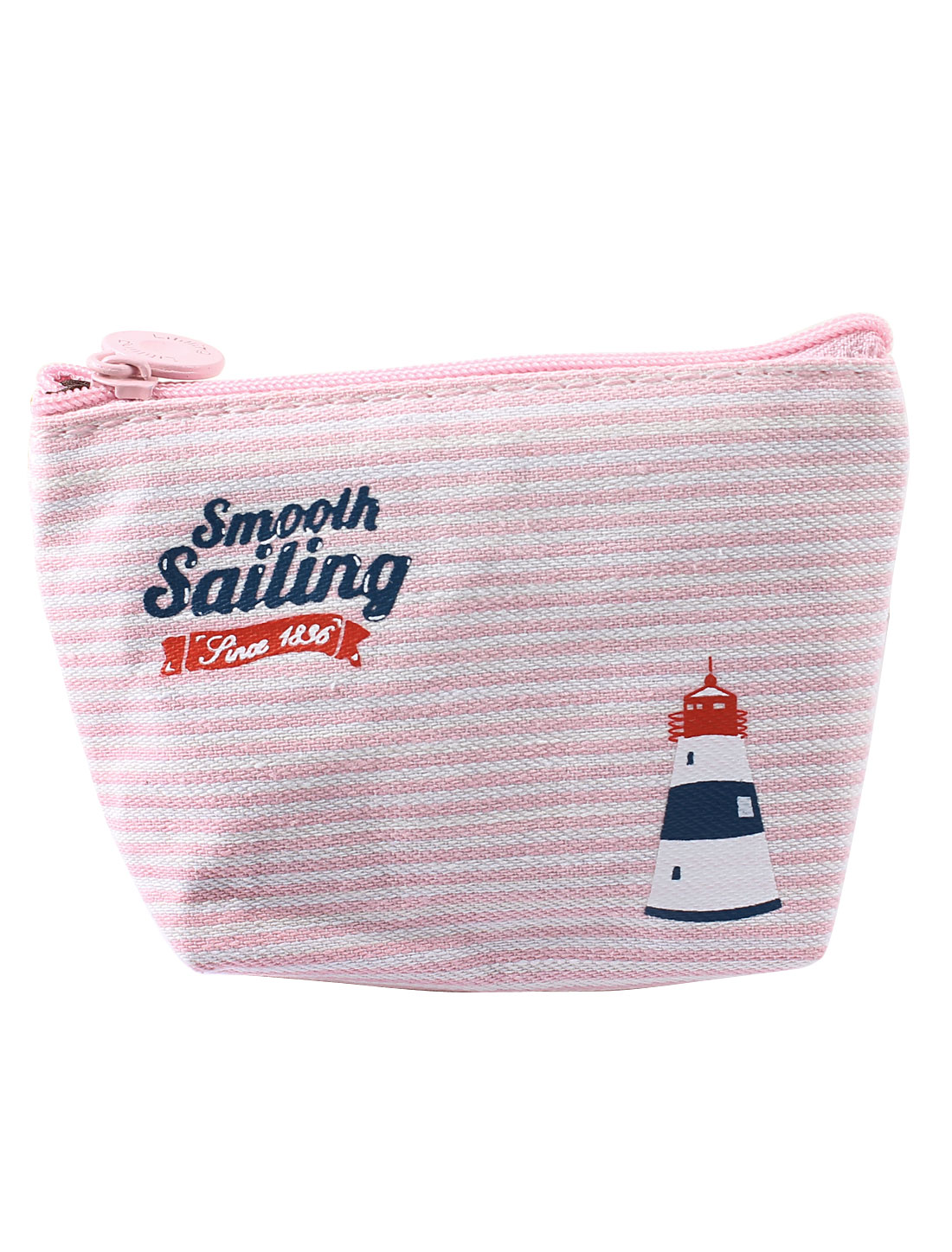 White Pink Single Compartment Stripe Pattern Zip Up Coin Purse for Women