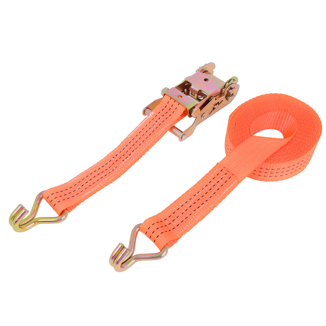 Truck Dual Metal Hook Polyester Luggage Rope Cord 6M Long Orange