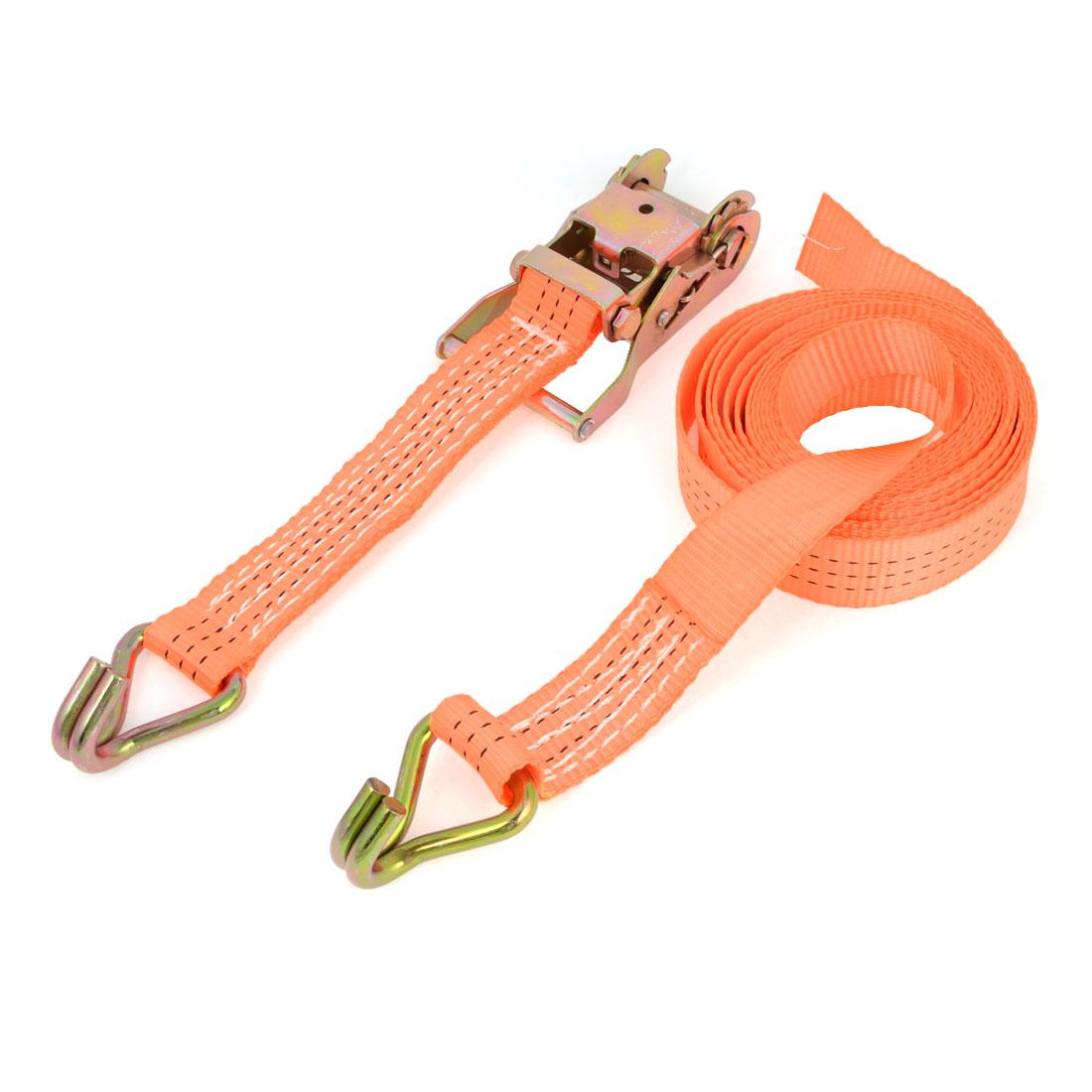 Truck Dual Metal Hook Polyester Luggage Rope Cord 5M Long Orange