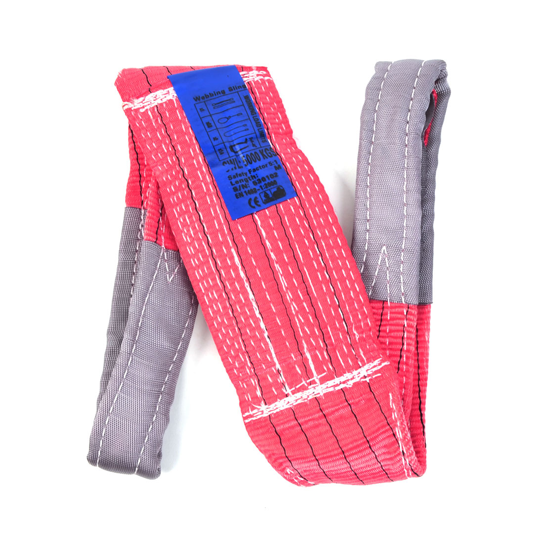 1M Length 12cm Width 5 Ton Watermelon Red Polyster Webbing Lifting Tow Strap