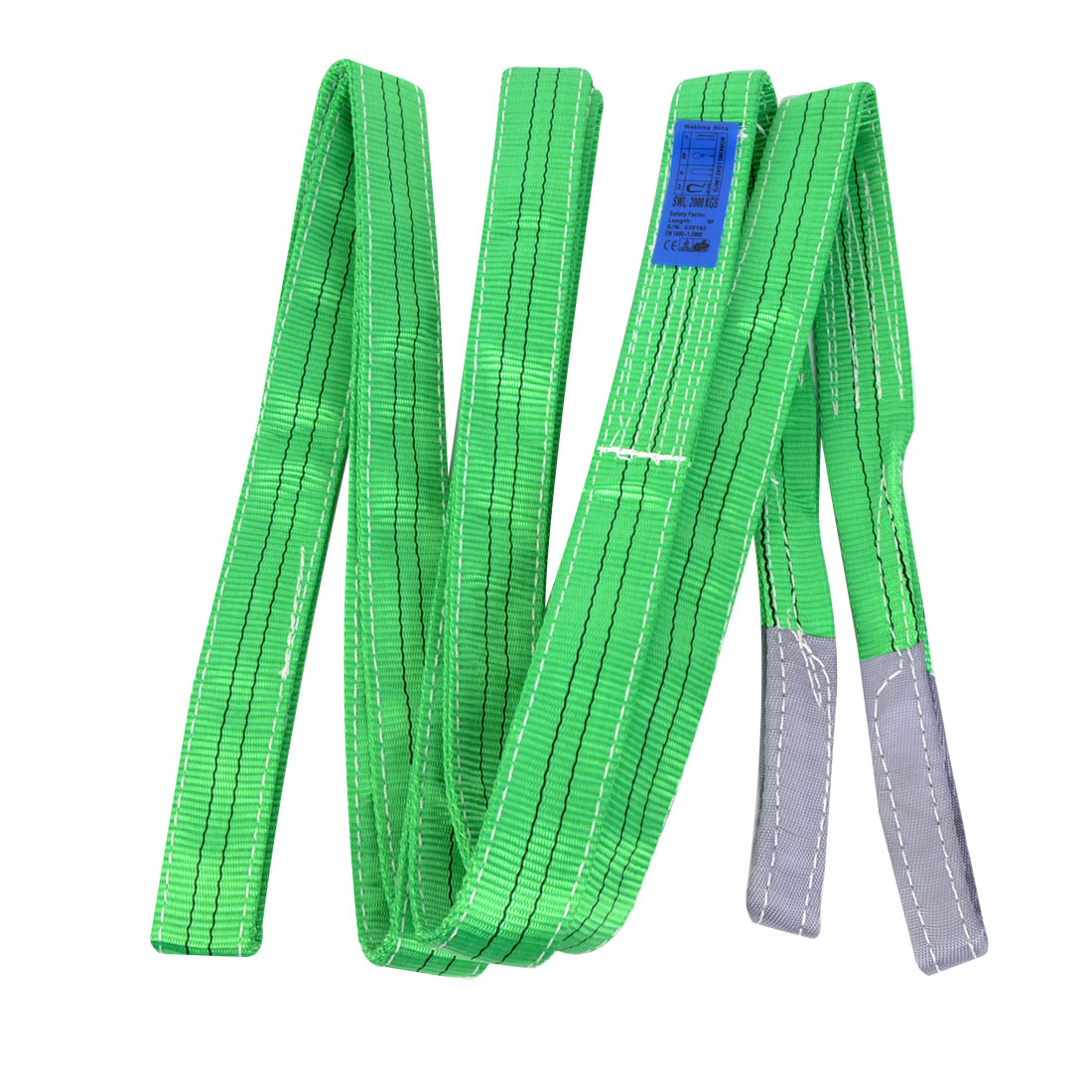 4M Length 5cm Width 2 Ton Green Polyster Webbing Lifting Tow Strap