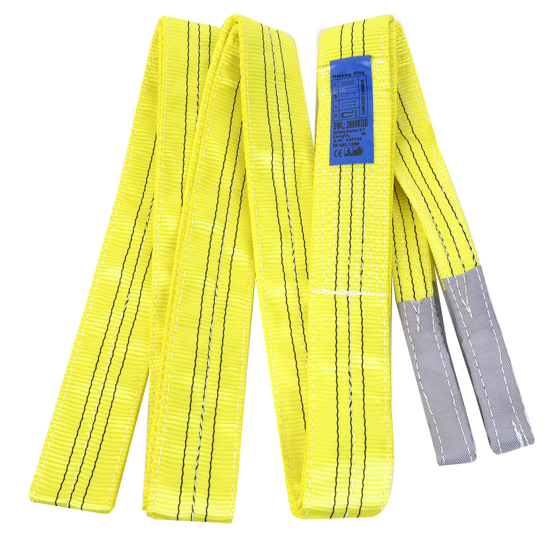 5M Length 7.5cm Width 3 Ton Yellow Polyster Webbing Lifting Tow Strap