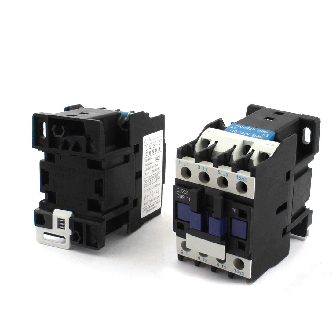 AC 110-130V 35mm DIN Rail Mount 3 Phrase 1NO AC Contactor CJX2-D0910 2pcs