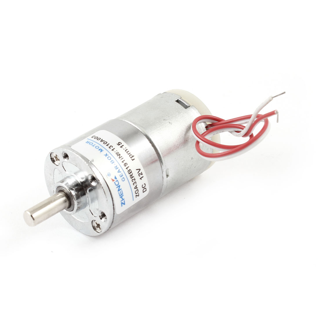 DC 12V 15RPM 6mm Shaft Dia Wired Cylindrical Metal Electric Geared Box Motor