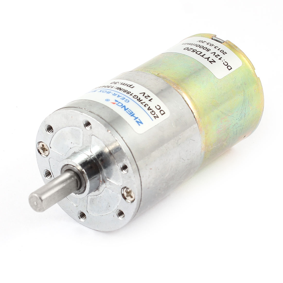 12V 6mm Diameter Shaft 2 Terminal 30RPM Electric Gearbox DC Gear Motor