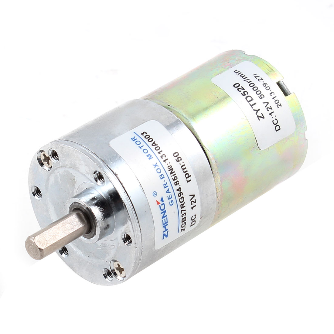 DC 12V 50RPM 6mm Shaft Dia Cylindrical Magnetic Electric Geared Box Motor