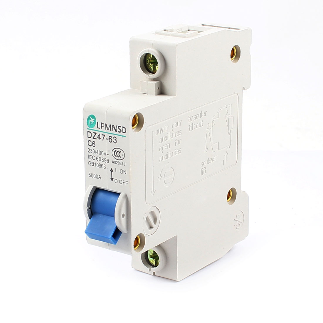 6000A Breaking Capacity 1 Pole 35mm DIN Rail Mounted Miniature Circuit Breaker AC 230/400V 6Amp DZ47-63 C6