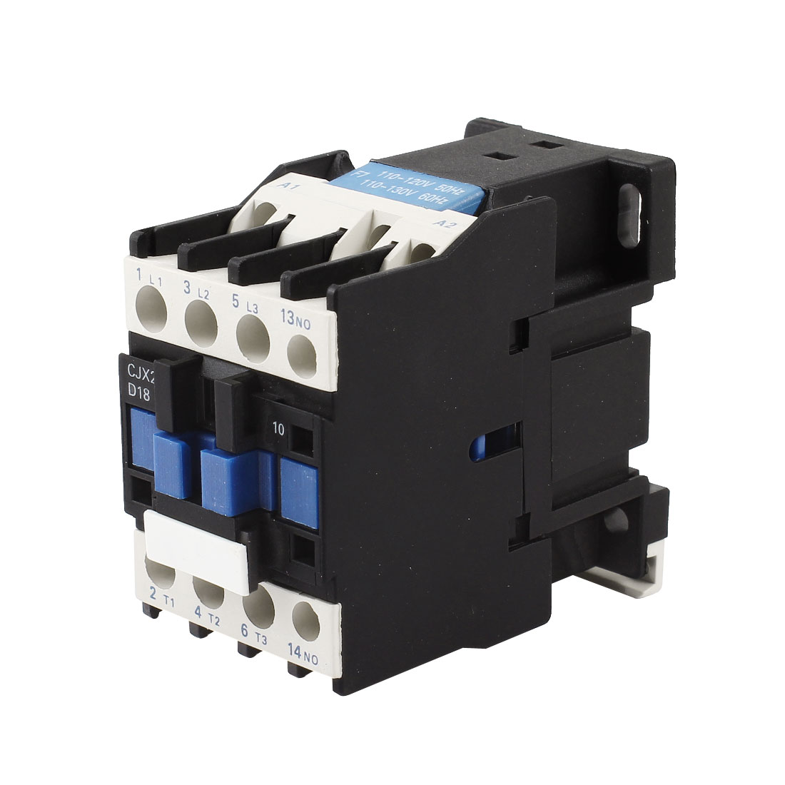 CJX2-1810 AC 110V Coil 35mm DIN Rail Mounting 13 Screw Terminals 3-Phase Electric Power Contactor