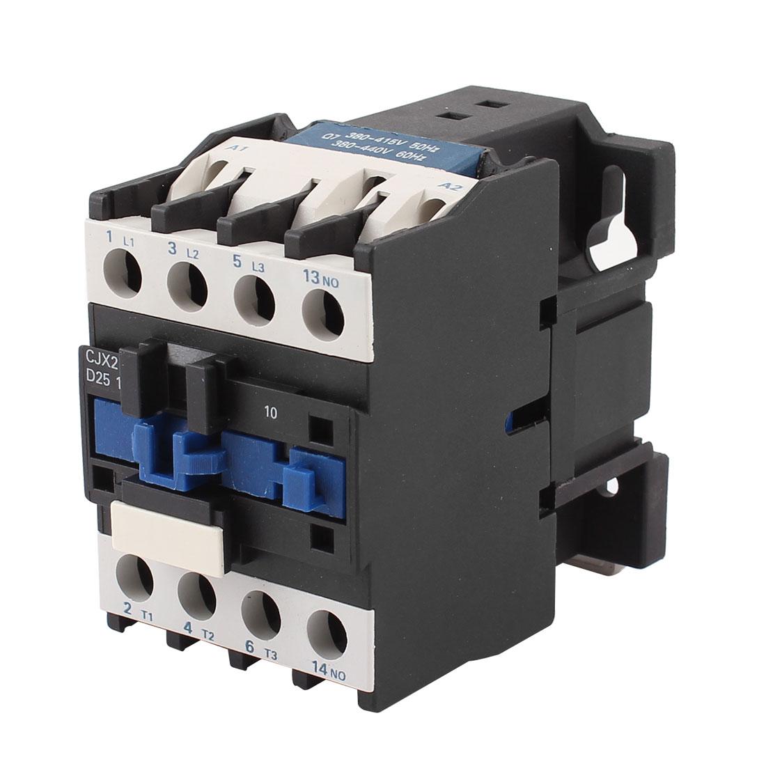 CJX2-2510 380V Coil 3 Poles 3P NO 35mm DIN Rail Mounting DIN Rail AC Contactor