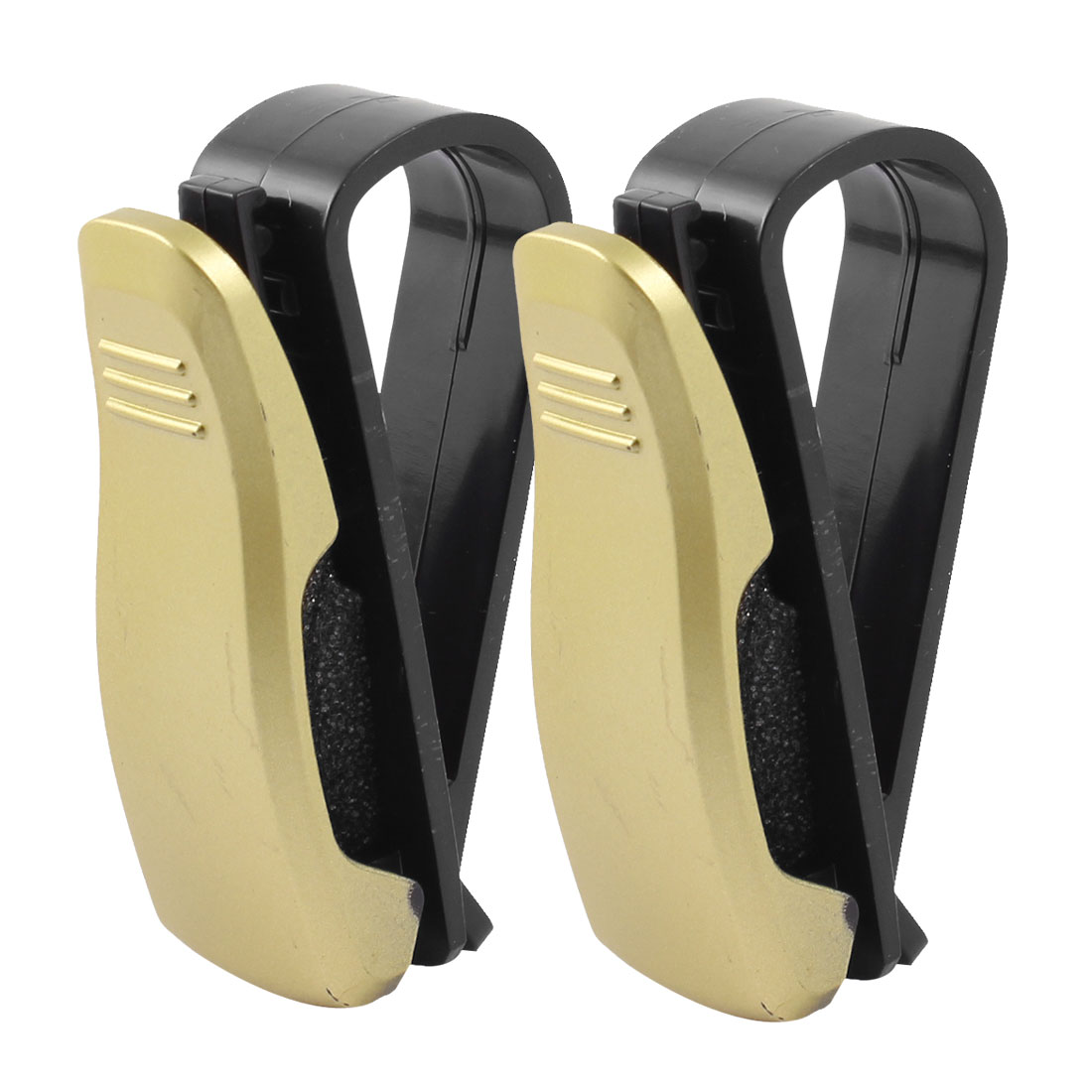 Car Interior Spring Loaded Plastic Eyeglasses Clip Black Gold Tone 2Pcs