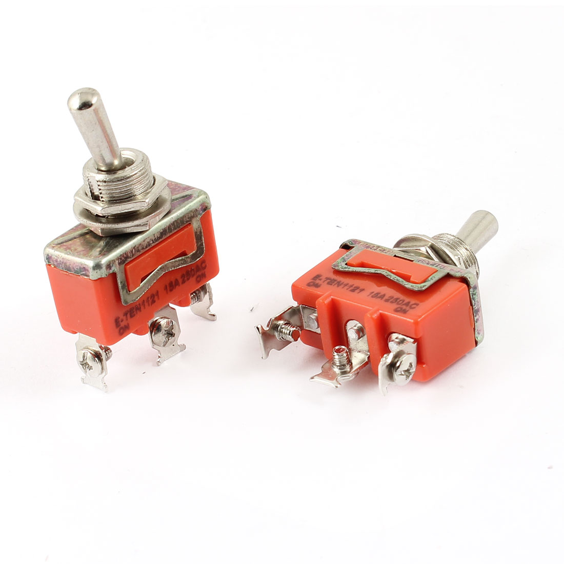 AC 250V 15A ON/ON 2 Position Panel Mounted SPST Latching Toggle Switch 2Pcs