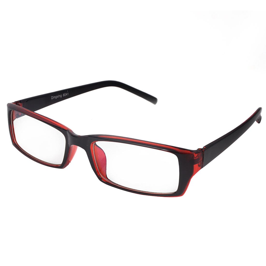 Red Black Plastic Single Bridge MC Lens Plano Glasses Spectacles for Lady
