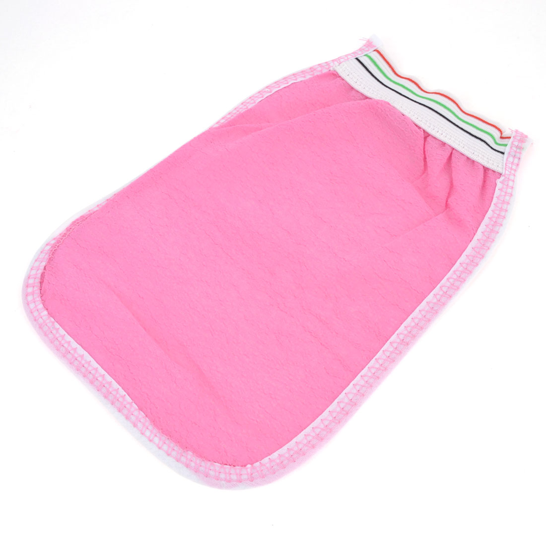 Bathroom Fibre Mesh Cotton Shower Bath Glove Mitt Pink White
