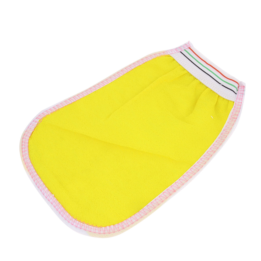 Yellow White Exfoliating Mesh Sponge Bath Glove Cleaner